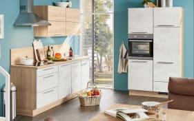Marken-Einbauküche Riva in Weißbeton-Nachbildung, Siemens-Geschirrspüler SN614X00AE