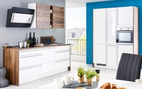 Einbauküche Flash in weiß Hochglanz/Balkeneiche Nachbildung