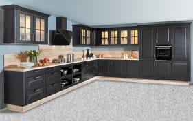 Einbauküche Sylt, Lack schwarz matt, inklusive Elektrogeräte, inklusive Neff Geschirrspüler