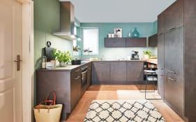 Einbauküche Riva, Beton Terragrau-Nachbildung, inklusive Privileg Elektrogeräte