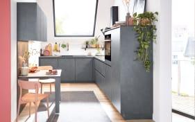 Einbauküche Riva, schiefergrau, inklusive Elektrogeräte, inklusive AEG Geschirrspüler