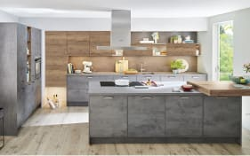 Einbauküche Riva, schiefergrau, inklusive Elektrogeräte