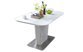 Säulentisch Ubora in weiß, mit ausziehbarer Tischplatte aus Glas