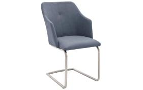 Schwingstuhl Madita in graublau, mit Rundrohrgestell aus Edelstahl