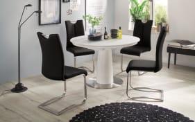 Stuhlgruppe Artos 2 / Waris in schwarz / weiß, mit Tischplatte aus Glas