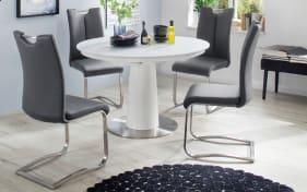 Stuhlgruppe Artos 2 / Waris in grau / weiß, mit Tischplatte aus Glas