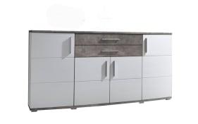 Sideboard Jam weiß Hochglanz/Betonfarbig