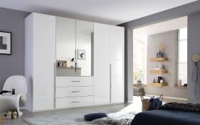Drehtürenschrank Montclar in weiß, 5-türig, Breite 250 cm, mit 2 Spiegeltüren und 3 großzügigen Schubkästen