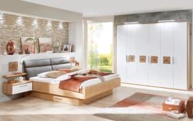 Schlafzimmer Cena in Wildeiche Furnier/Lack weiß, Liegefläche 180 x 200 cm