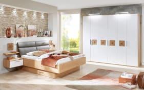 Schlafzimmer Cena in Wildeiche Furnier/Lack weiß, Liegefläche 140 x 200 cm