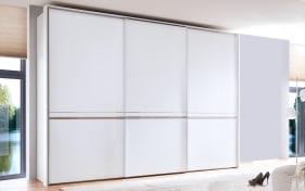 Schwebetürenschrank 4008 in Glas alpinweiß, Breite 336 cm, 3-türig mit Mittelband Struktureiche natur-Nachbildung