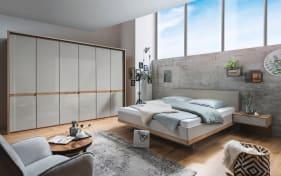 Schlafzimmer Barcelona in Bianco Eiche-Nachbildung/Farbglas champagner, ca. 180 x 200 cm