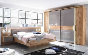 Schlafzimmer Milano in Wildeiche-Nachbildung/Basaltgrau, inklusive Beleuchtung
