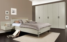 Schlafzimmer Fena in Lack seidengrau, Liegefläche ca. 180 x 200 cm