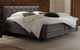 Boxspringbett in grau, 7-Zonen Tonnentaschenfederkern, Liegefläche ca. 180 x 200 cm