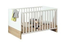 Kinderbett Remo in kreideweiß/bordeaux-Eiche-Nachbildung