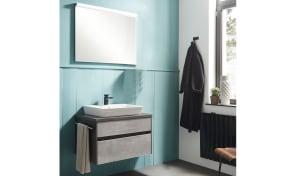 Badeinrichtung Unique in betonfarbig-Stahl dunkelfarbig