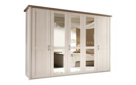 Drehtürenschrank Luca in Pinie weiß-Nachbildung, Breite 241 cm, 5-türig, 3 Spiegeln