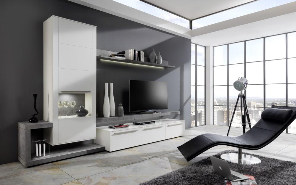 GWINNER Wohnwand Bellano BE25 in seidenmatt weiß / Beton-farbig