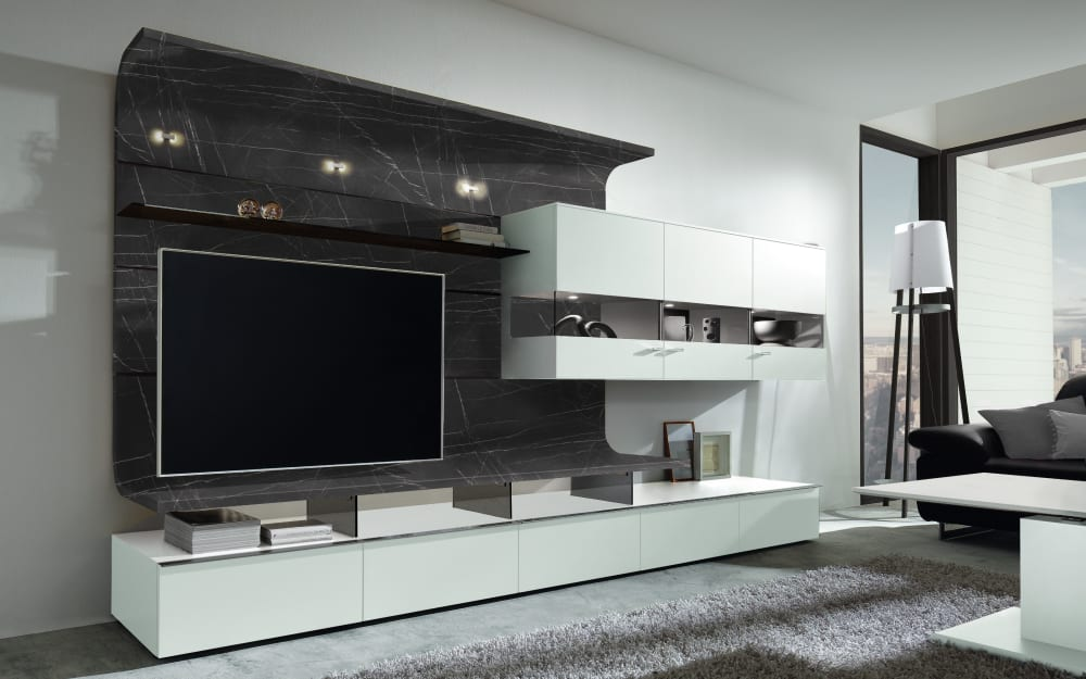 GWINNER Wohnwand Felino in seidenmatt weiß / Marmor-Nachbildung