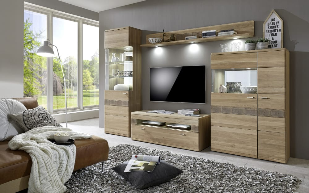 Ideal-Möbel Wohnwand Miro in Eiche bianco