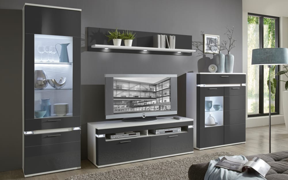 Ideal-Möbel Wohnwand Boa in graphit/weiß