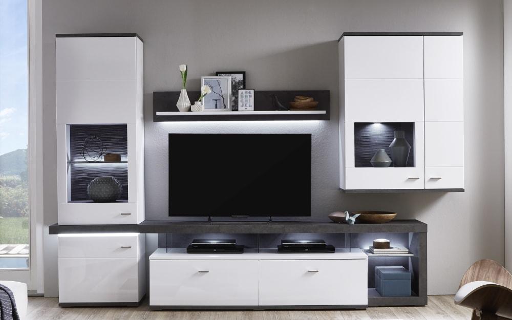 Ideal-Möbel Wohnwand Karajol in weiß, mit LED-Beleuchtung