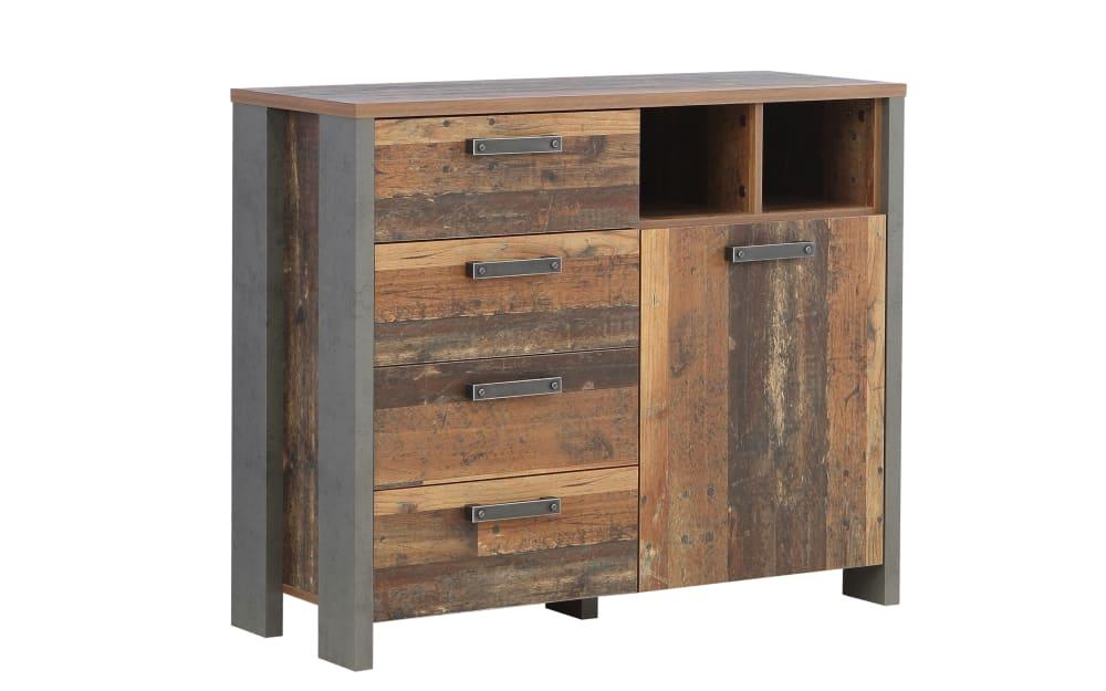 Forte Kommode Clif in Old Wood-Optik/Beton-Optik