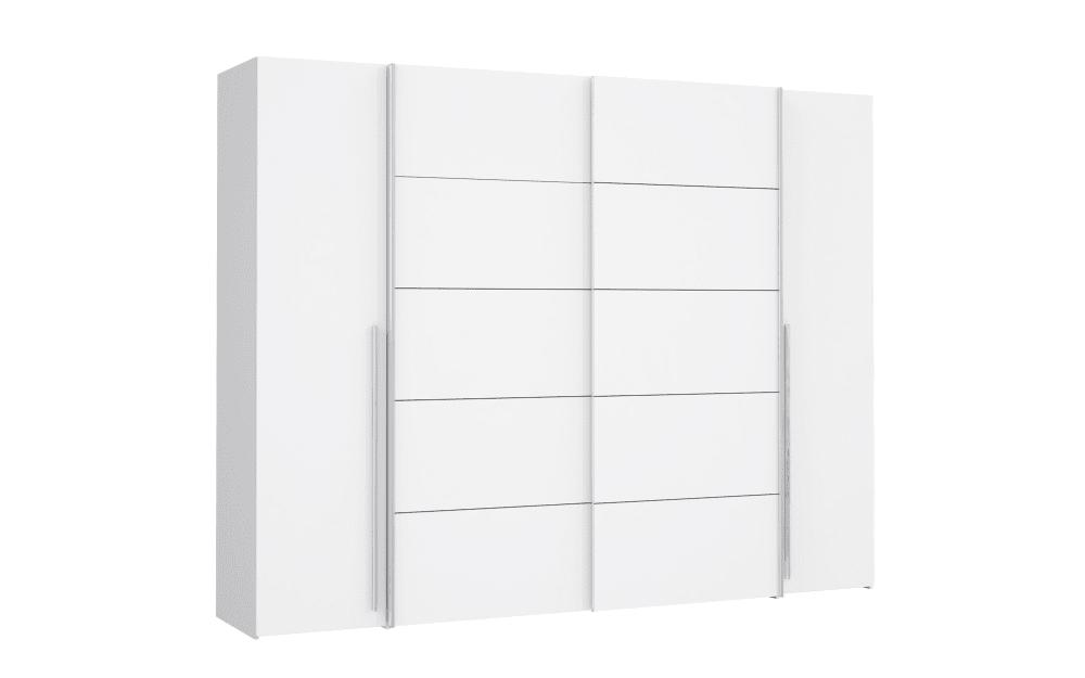Forte Kleiderschrank Narago in weiß, Breite 270 cm, mit 2 Dreh- und 2 Schwebetüren