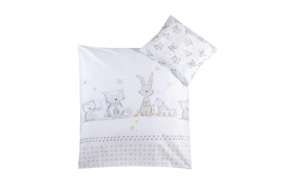 Julius Zoellner Bettwäsche in weiß mit Muster Häschen und Eule, 80 x 80 cm