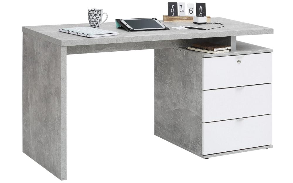 Maja Schreibtisch in Betonoptik/weiß