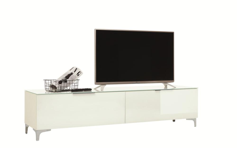 Maja Lowboard Shino in weiß matt/ Weißglas