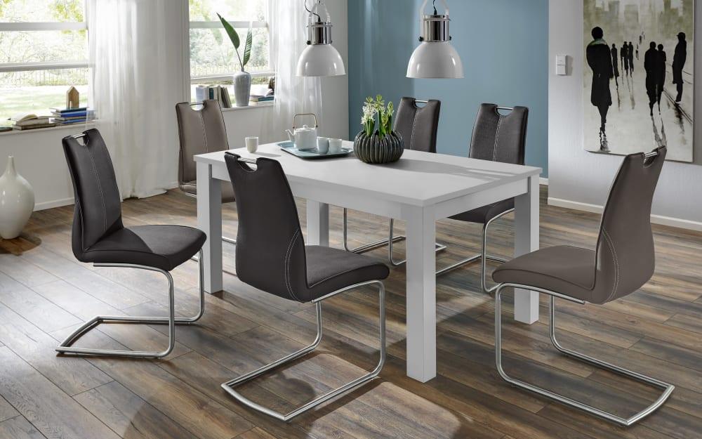 Niehoff Stuhlgruppe Dekora in weiß, mit 6 Schwingstühlen