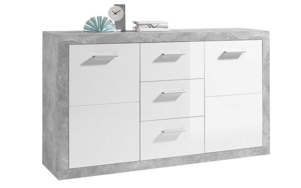 Sideboard in weiß / Beton-Optik