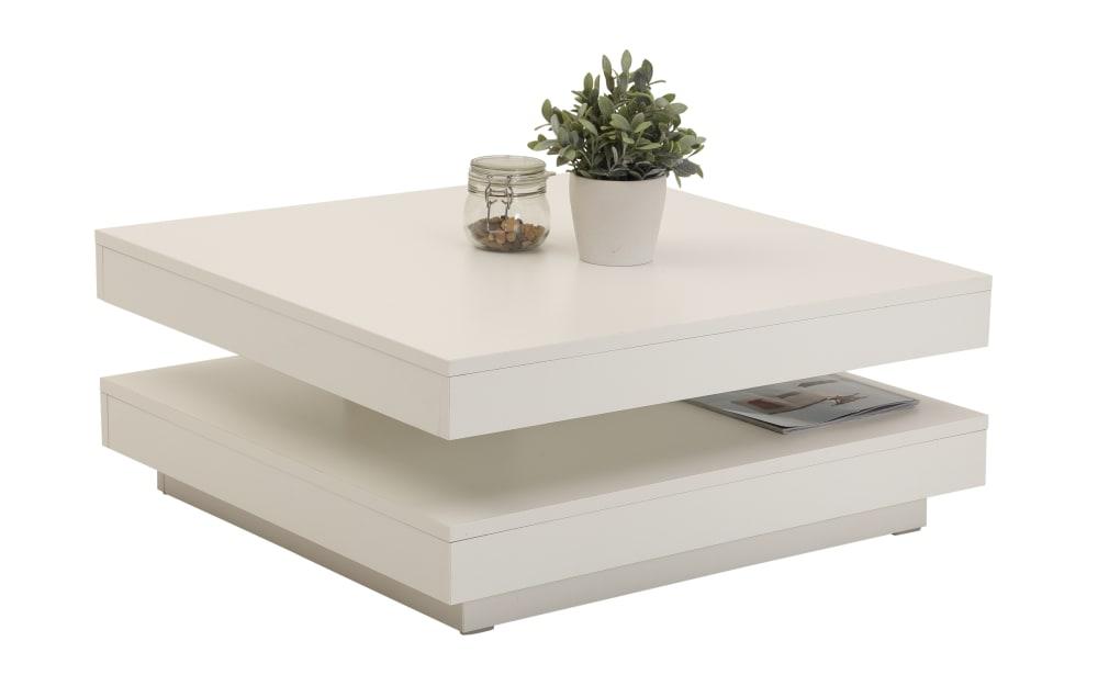 Hela Couchtisch Andy in weiß, mit drehbarer Tischplatte