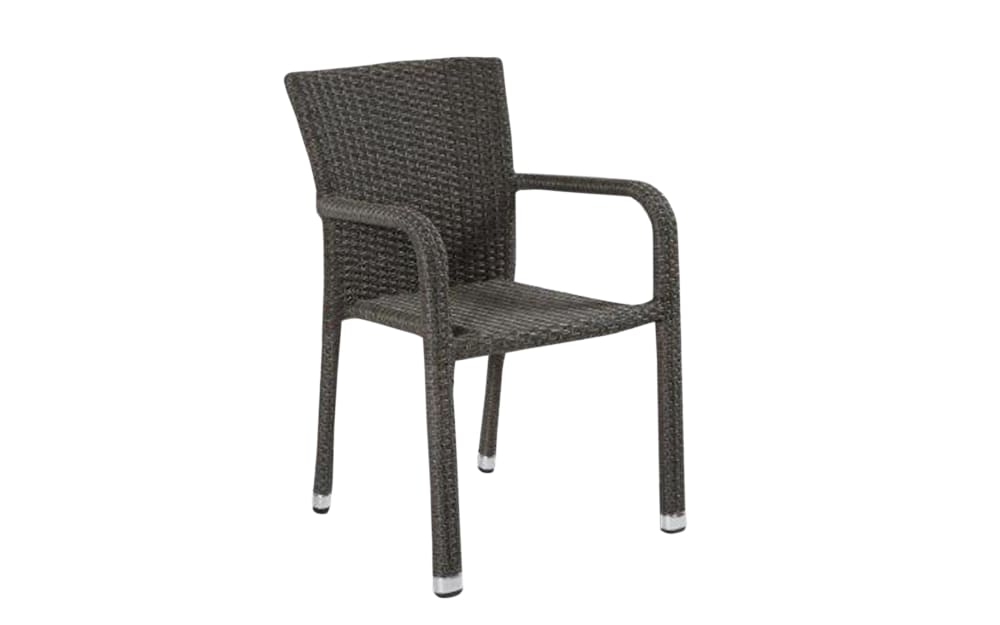 L.C. Wholesaler Garten-Stapelstuhl Barcelona in Geflecht Polyrattan grey-mix