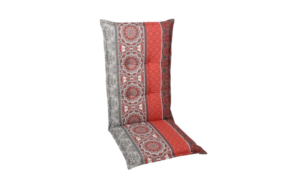GO-DE Garten-Sesselauflage in rot/grau, Hochlehner