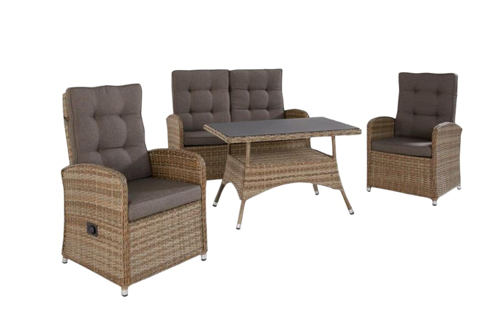HPI Garten Garten-Lounge-Set Monaco in Geflecht Polyratten natur-mix