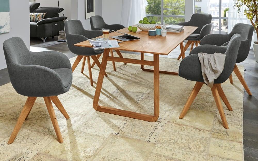 Musterring Stuhlgruppe Tavia in grau/Eiche massiv