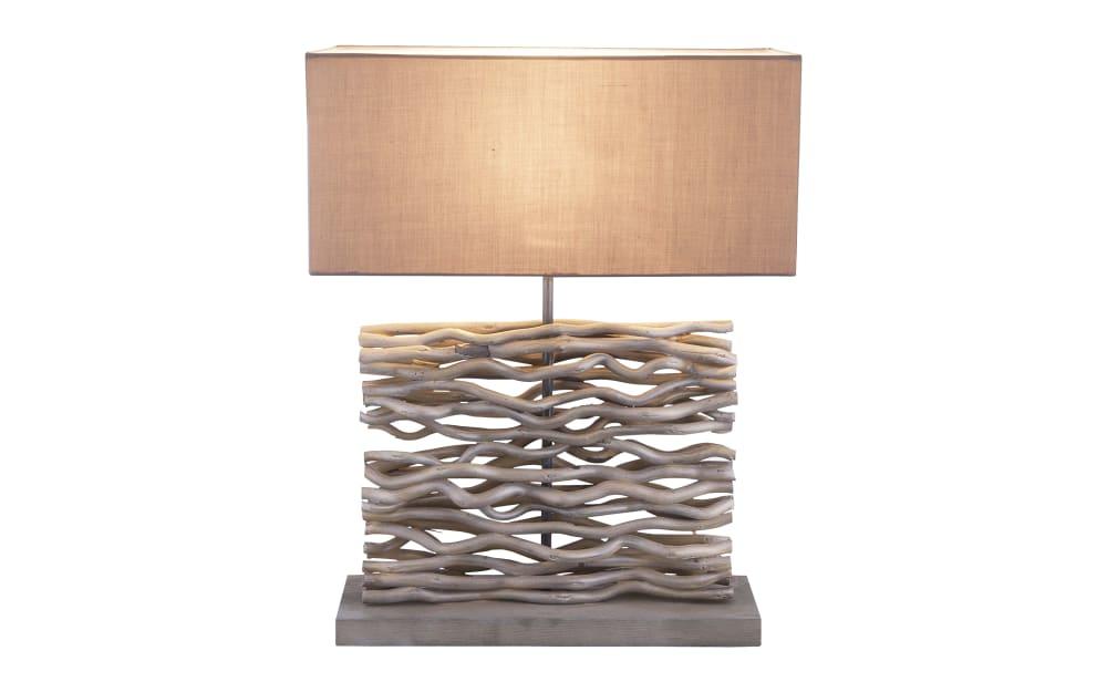 Globo Lighting Tischleuchte Ian in grau mit Holzdekor