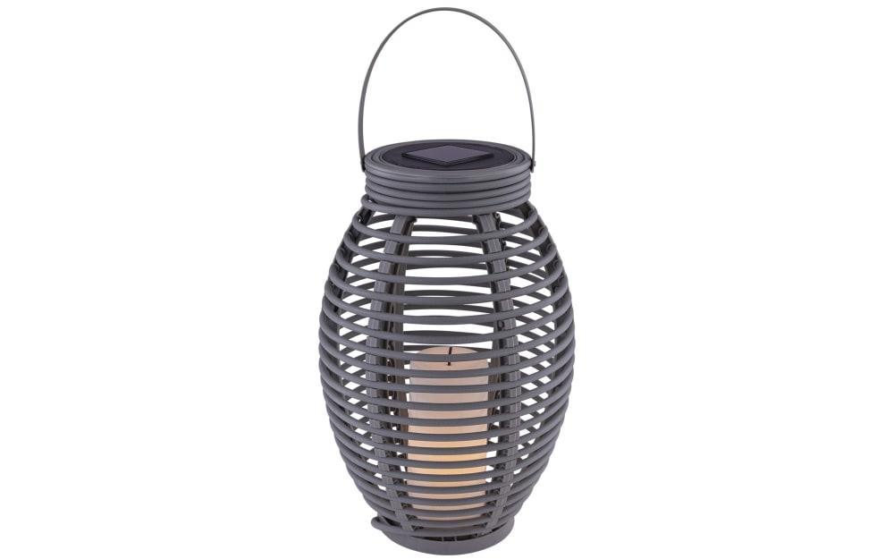 Globo Lighting Solarleuchte Rattan in grau / oval, 35 cm