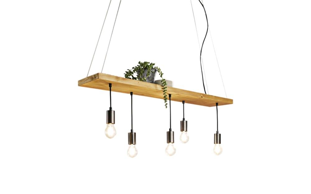 Casa Nova Pendelleuchte Board mit Fichtenholz-Dekor