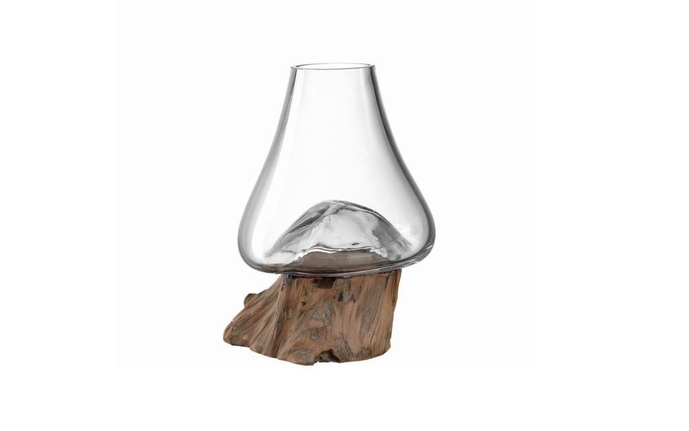 Glas Koch Vase auf Holz Casolare, 15 x 15 x 21 cm