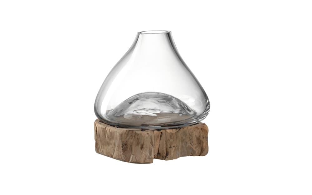 Glas Koch Vase auf Holz Casolare, 20 x 20 x 21 cm