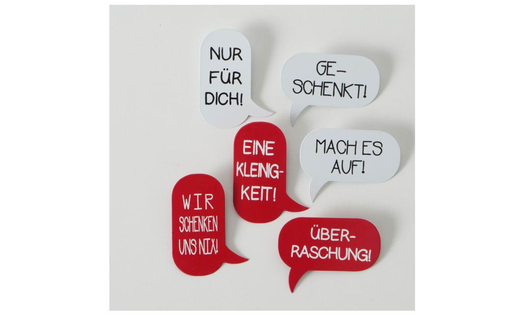 Boltze Dekoanhänger Message in rot/weiß, 8 cm