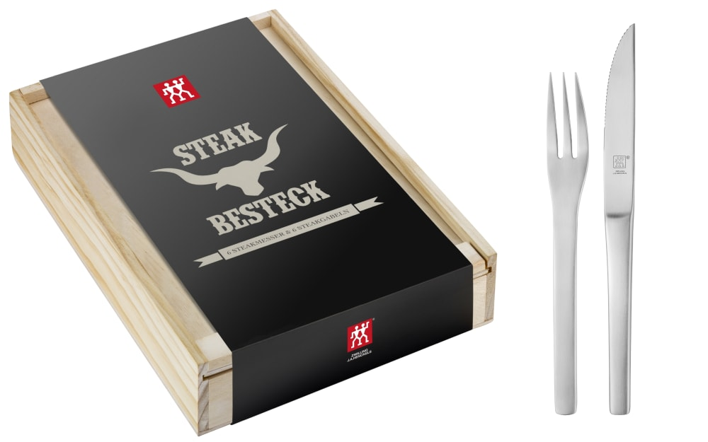 Zwilling Steakbesteck Melbourne in Holzbox, 12-teilig