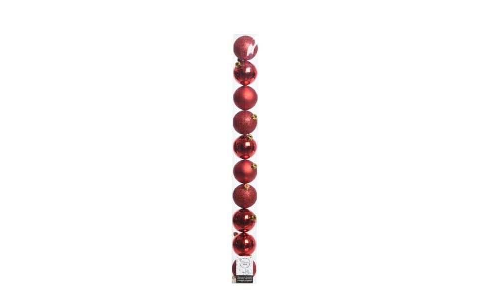Kaemingk Deko Kugeln in weihnachtsrot, 10 cm
