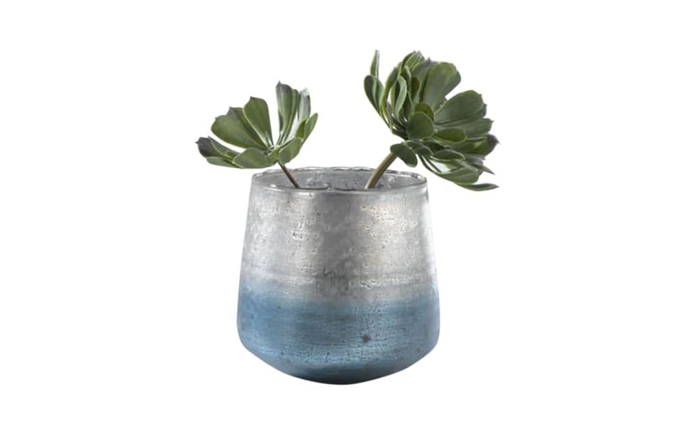 Casa Nova Vase in blau/silber, 15 cm