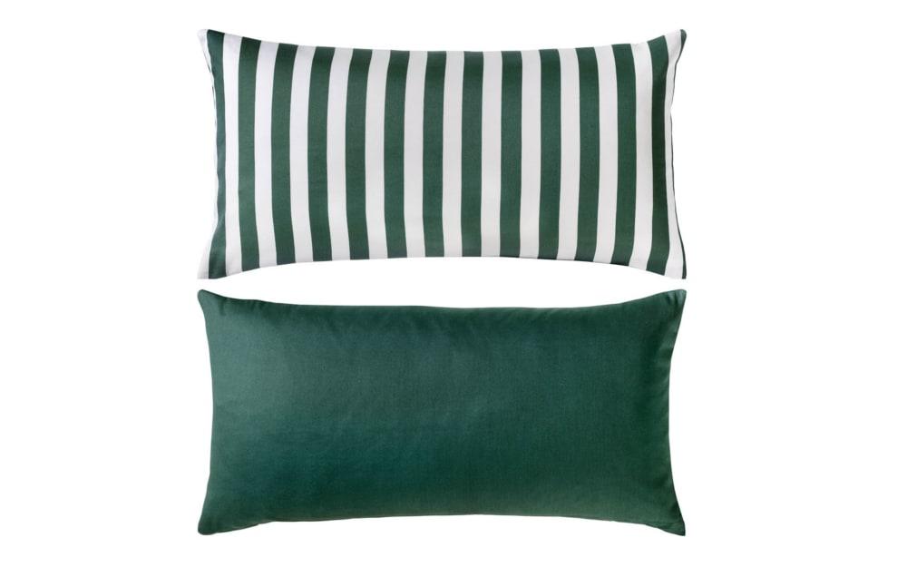 Casa Nova Kissenhülle in grün/weiß Satin, 40 x 80 cm