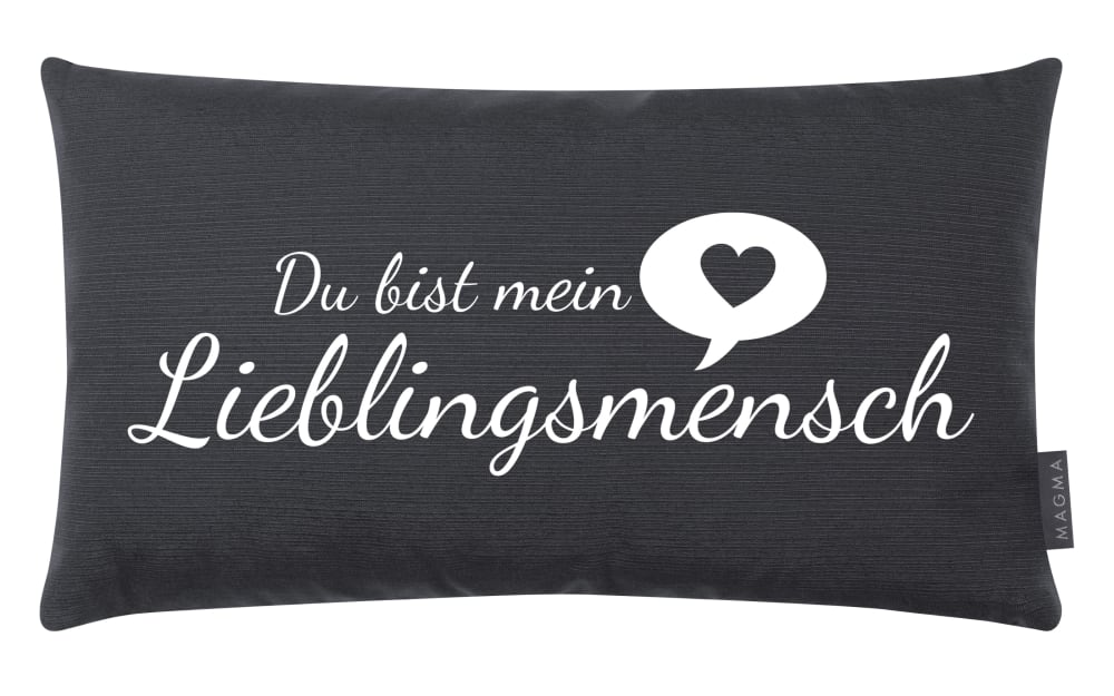 Magma Kissen Lieblingsmensch in anthrazit, 30 x 50 cm